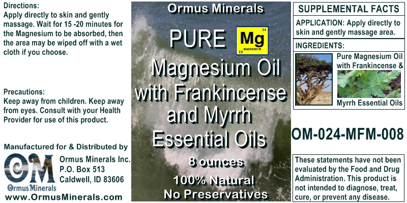 Ormus Minerals Magnesium Oil with Frankincense and Myrrh Essential Oils