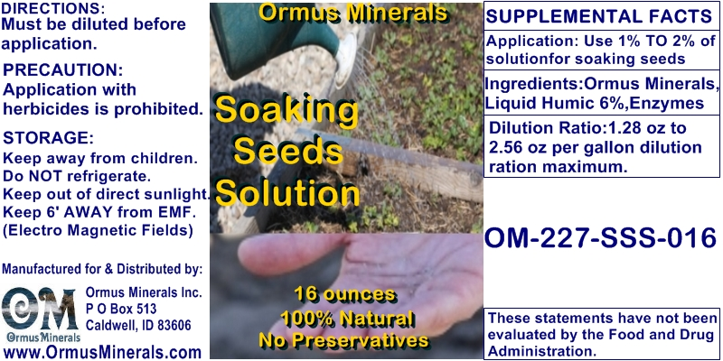 Ormus Minerals Soaking Seeds Solution