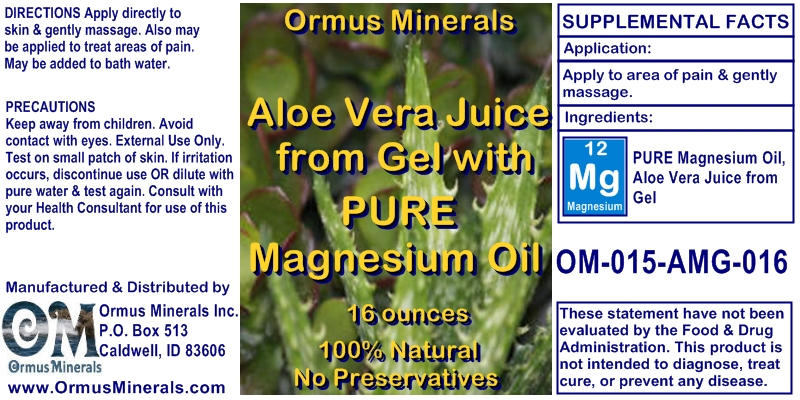 Ormus Minerals Aloe Vera Jusice from Gel with Pure Magnesium Oil