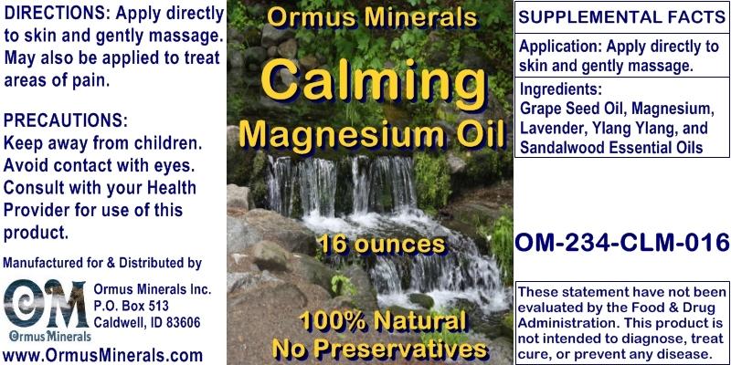 Ormus Minerals CALMING Magnesium Oil