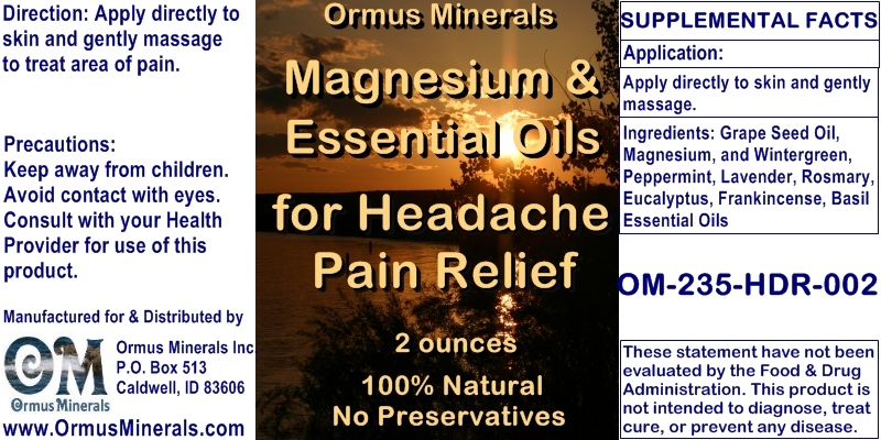Ormus Minerals Magnesium & Essential Oils for Headaches